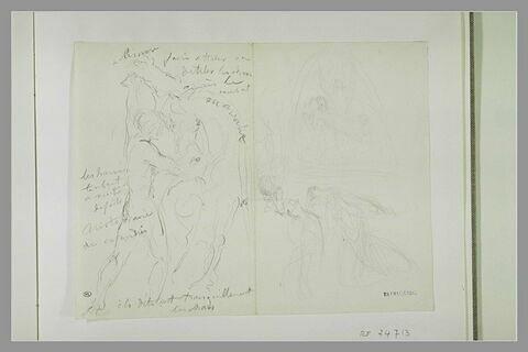 Homme retenant des chevaux ; femme en désolation ; figure et des anges