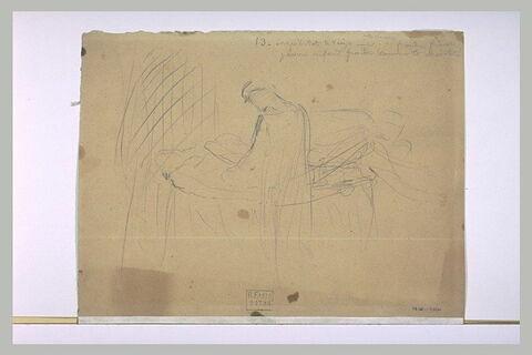 Ange, les bras levés ; figure drapée devant un lit où repose un cadavre