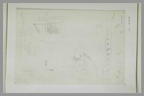 Ruines ; motis antiques et arbustes à Herculanum