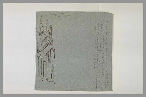 Déesse, d'après une statue antique ; annotation manuscrite