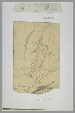 Femme demi nue, agenouillée, tournée vers la droite