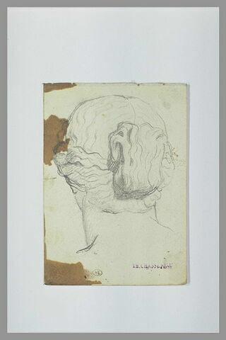 Tête de statue de femme antique, vue de dos