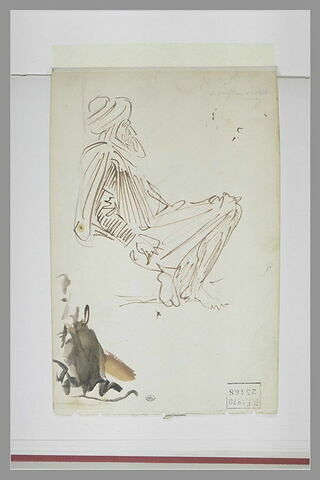 Vieil homme oriental, assis sur le sol, vu de profil