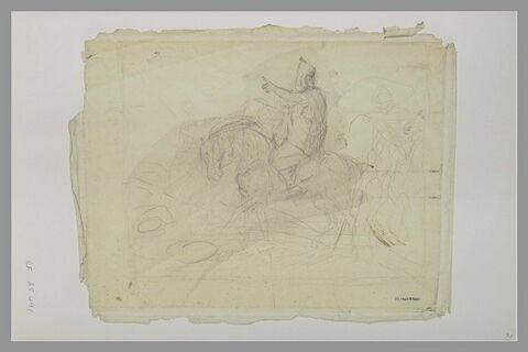Chef Arabe à cheval, allant vers la gauche, désignant du bras la route