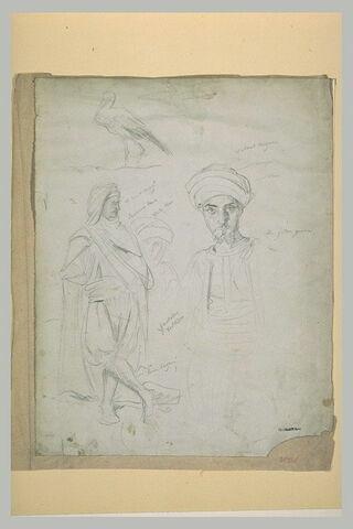 Echassier, et études de costumes arabes