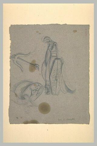Etudes de motifs antiques : ancre, bouclier et armes