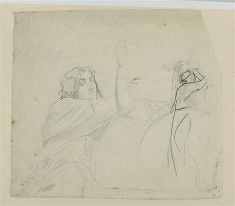 Femme assise, en buste, et femme de face, en buste, derrière un bouclier
