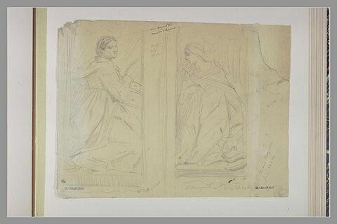 Deux saintes à genoux, dans des encadrements