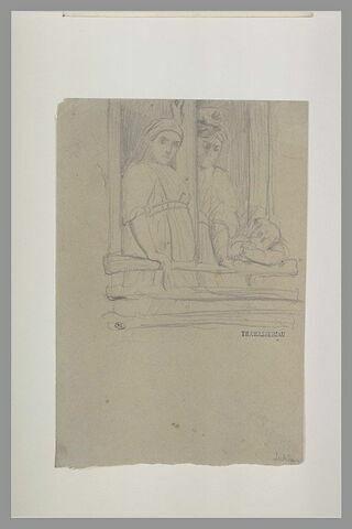 Deux femmes et un enfant accoudés à une fenêtre, à Ischia