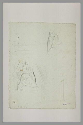 Homme drapé, assis, tenant un volume ; figures ; architectures d'Amalfi