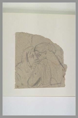 Deux femmes chuchotant, vues en buste