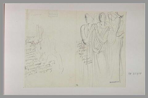 Homme, de face, levant le bras droit ; groupe de femmes drapées