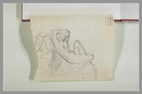 Figure nue assise addossée contre une figure, de face