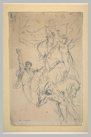 Cavalier, le bras droit levé, homme nu foudroyé, et autres figures