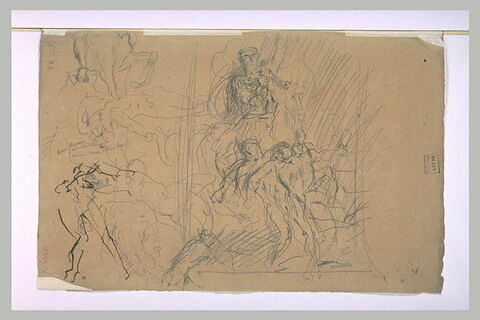 Cavalier, hommes nus, et autres figures