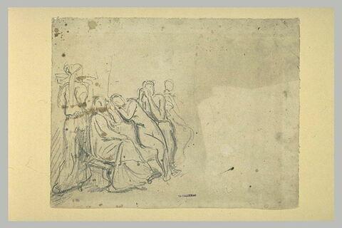 Groupe de femmes assises, avec une servante