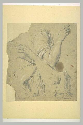 Bras droite, deux bras croisés, et étude de draperie