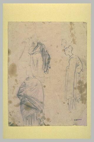 Trois études de femme drapée, tournée vers la gauche