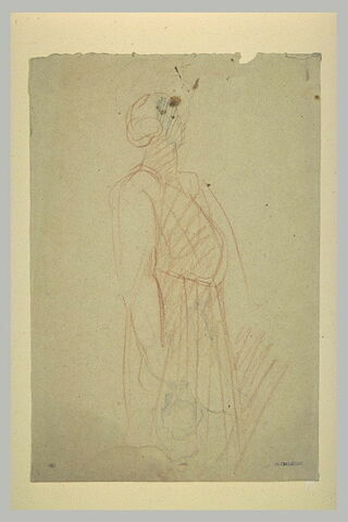 Femme debout, de trois quarts à droite, tournant la tête