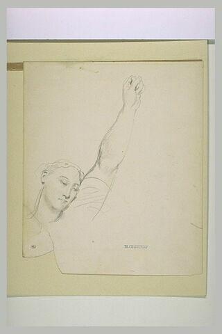 Tête de femme, le bras gauche levé avec le poing fermé