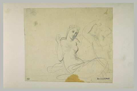Deux études d'une femme à demi nue, levant le bras droit