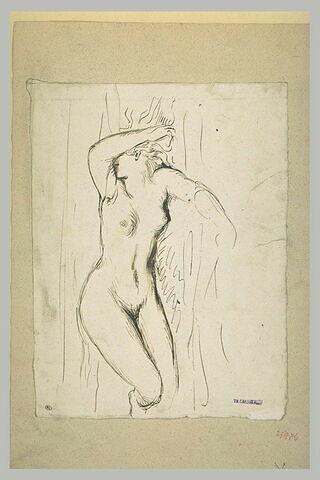 Femme nue étendue à terre, le bras droite cachant son visage