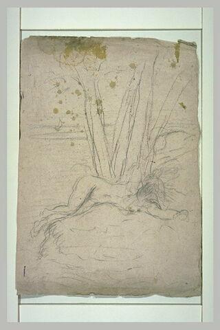 Figure nue, allongée sur un tertre, au pied d'un arbre
