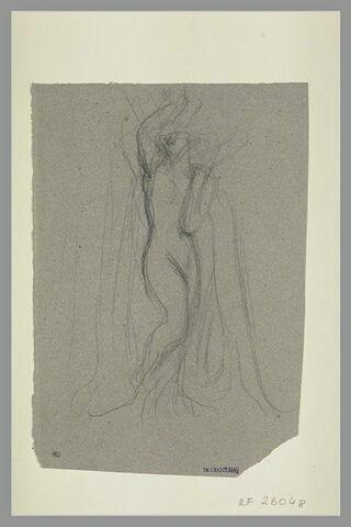 Femme nue debout, le bras gauche replié et la main portée à l'épaule