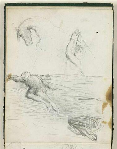 Femme nue étendue ; Tête et encolure d'un cheval ; homme étendu