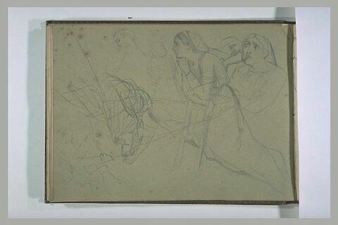 Femmes agenouillées, en prière, et Desdémone assise sur son lit