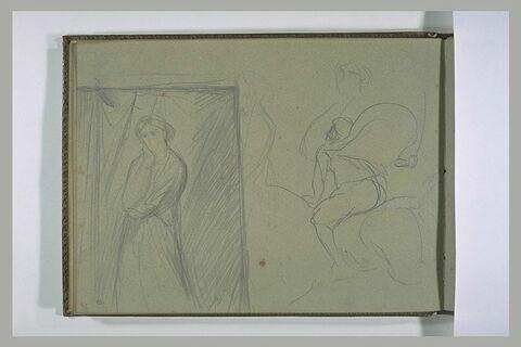 Un cavalier galopant vers la gauche et, un portrait de femme