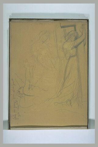 Une figure gesticulant et un ange tenant une croix