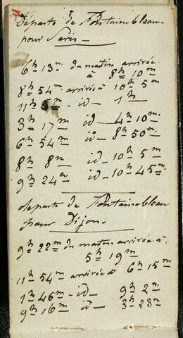 Notes manuscrites : Départs de Dijon pour Fontainebleau