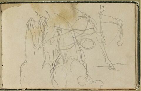 Deux chevaux accolés, de face, et jambes avant d'un cheval