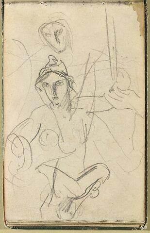 Femme nue, en buste, gesticulant