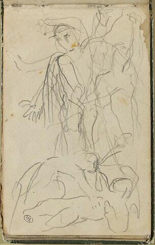 Femme gesticulant, et femme penchée sur une figure