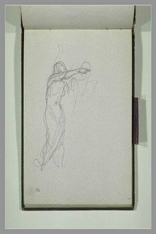 Femme nue, debout, bras droit levé