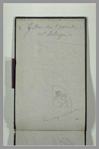 Emblème héraldique : lion dressé vers la gauche ; annotation manuscrite