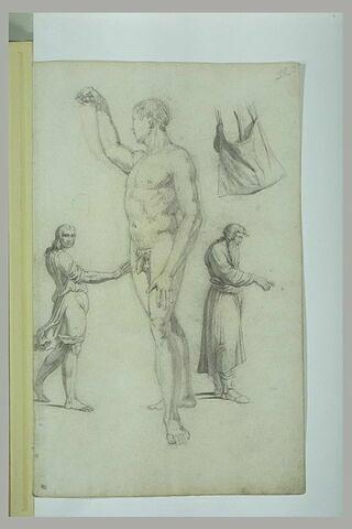 Etude académique d'un homme nu debout et croquis de figures