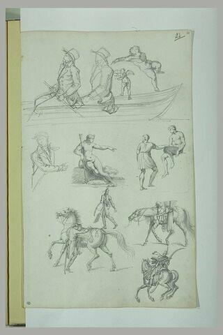 Etudes : hommes dans un barque ; cavalier ; cheval ; homme nu assis ; Diane