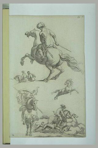 Etudes de cavaliers orientaux et copie d'aprés une chasse
