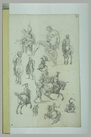 Etudes de cavaliers ; femme nue assise avec ange ; mendiant ?