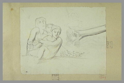 Groupe de trois personnages ; tronc d'arbres