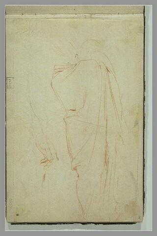 Figure d'homme drapée debout, de dos ; étude de bras