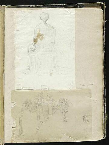 Statue d'une femme assise sur une chaise