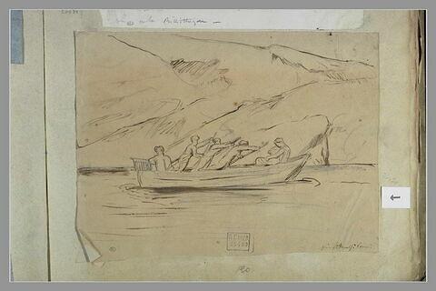 Rameurs sur une barque près d'Amalfi