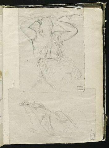 Femme portant ses mains à sa tête assise de face, étude d'une main