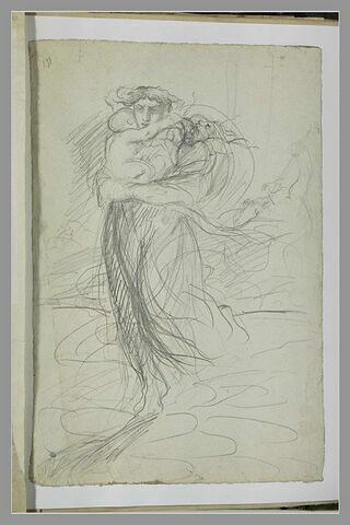 Femme fuyant devant un cavalier