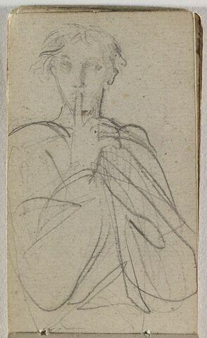 Personnage, drapé, posant un doigt sur sa bouche