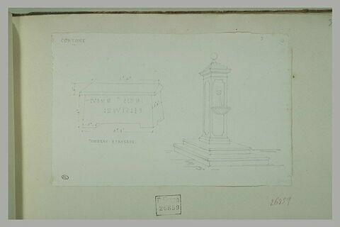 Cortone : tombeau étrusque et fontaine